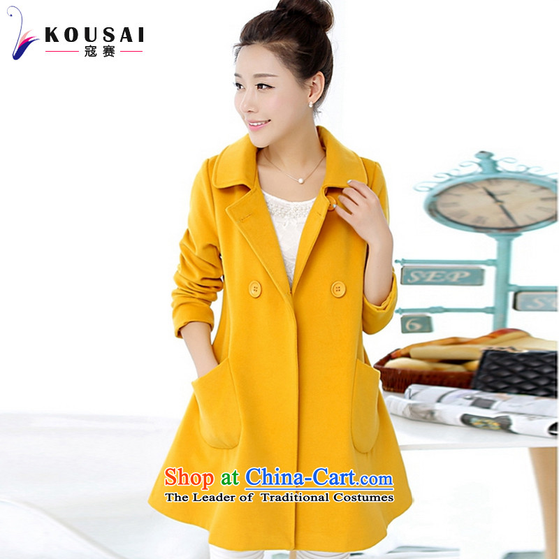 In 2015, the largest number kou women fall/winter collections for women won the new version of the long lapel a wool coat jacket F6368 YELLOWL