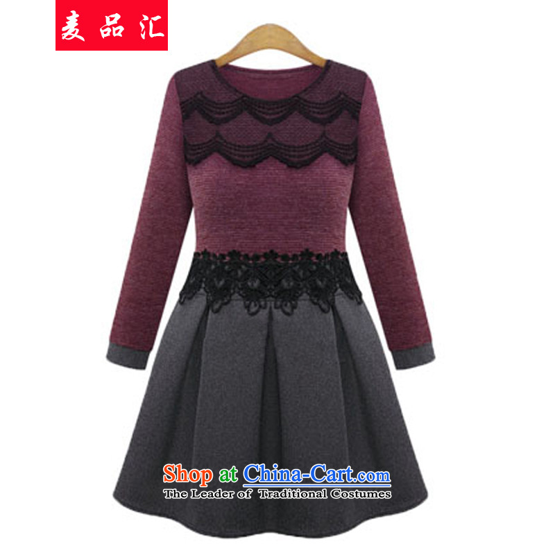 Mr products removals by sinks to xl female thick mm autumn and winter, dresses 200 catties Foutune of western thick sister video thin lace forming the skirt 5108 Magenta 5XL recommendations 180-200 catty