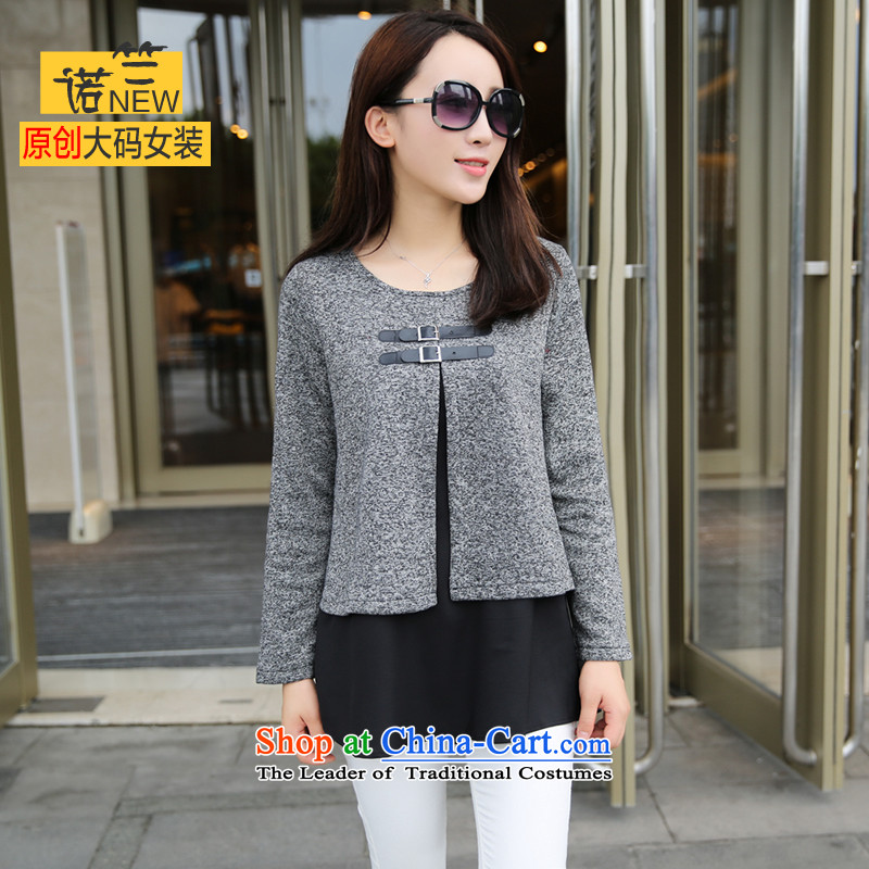 The requested maximum number of ladies autumn T-shirts to increase long-sleeved blouses and round-neck collar western minimalist gray T-shirt HM-9962 large gray code XL