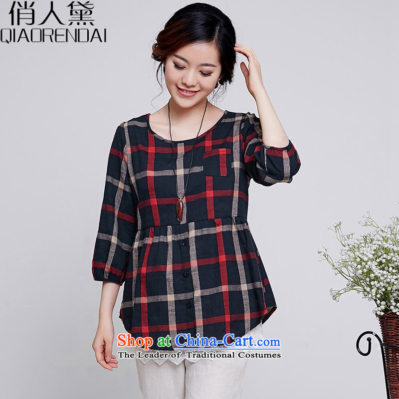 For People Doi xl women in spring and autumn 2015 new seven-sleeved shirt cotton linen dolls thick MM loose video thin T shirt female Blue燤