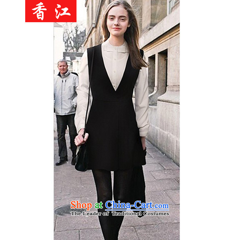 Xiang Jiang爐hick sister Kit 2015 200 catties white shirt with skirt two kits dresses loose video thin package and to short skirts xl 320 black and white�L