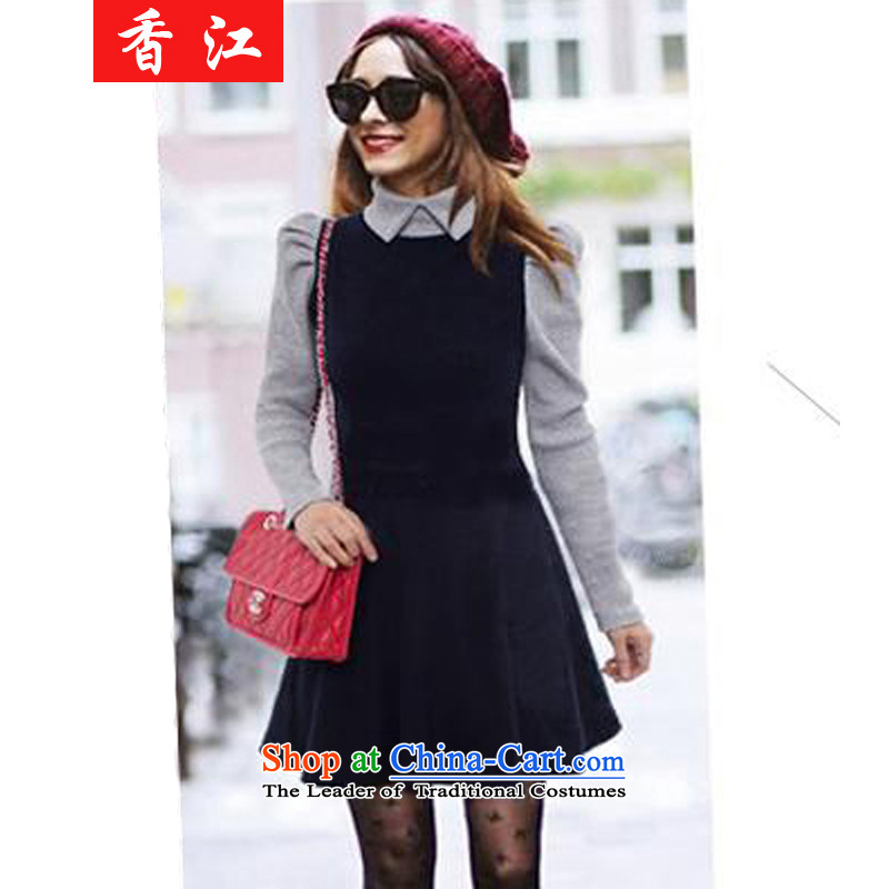 Xiang Jiang 2015 Sau San to increase women's code in long long-sleeved shirt skirts expertise autumn mm leave two loose video thin dresses 662 dark blue 4XL