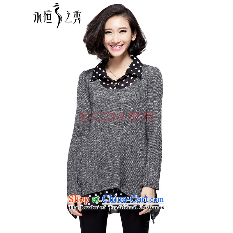 The Eternal Soo-XL lady knitted shirts 2015 new fall thick mm sister expertise with the person who is loose video thin, long-sleeved lapel leave two black and gray shirt 3XL