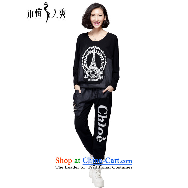 The Eternal Soo-to increase women's sports and leisure code kit 2015 Autumn new products thick mm thick, Hin western sister thin tee trouser press kit two black�L_140 catty - 160 catties through_