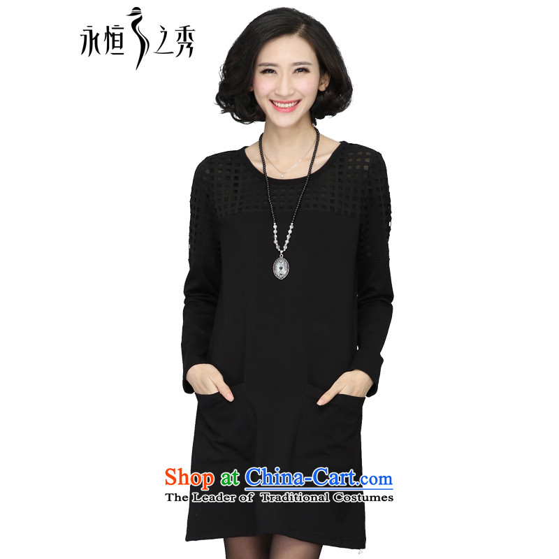 The Eternal-soo to xl women's dresses thick sister 2015 Autumn replacing new thick mm thick, Hin thin, Korean engraving burned out long-sleeved black dress with a straight 4XL