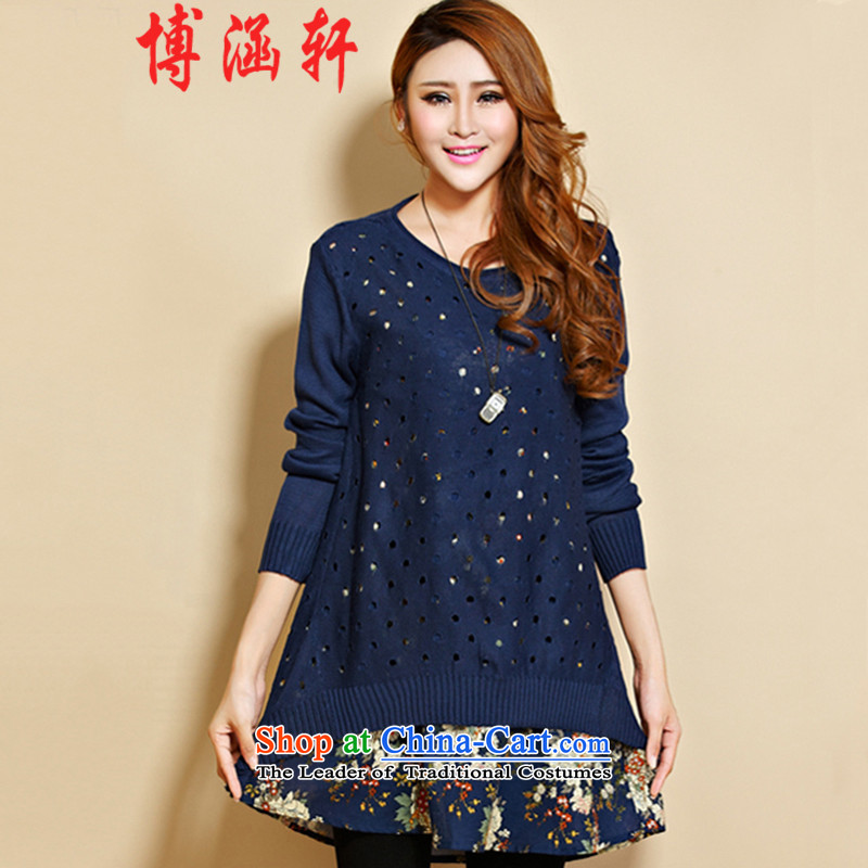Bo Han large Xuan Women 2015 Fall/Winter Collections of the new Korean wild thick mm low female cotton linen knitted sweaters two kits dressess8180navyXXXL