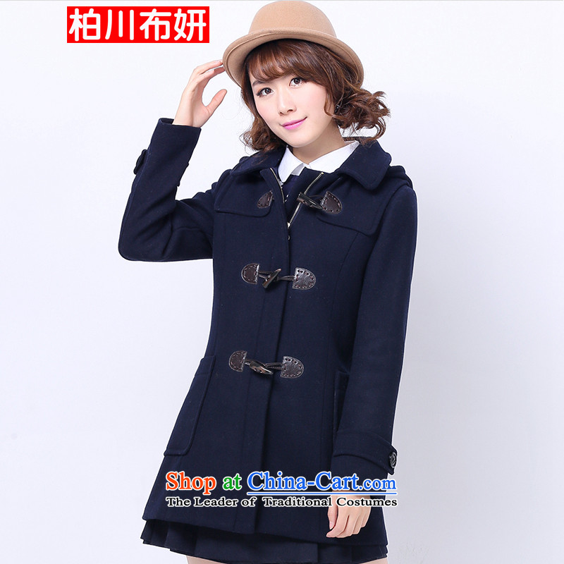 C.o.d. kashiwakawa cloth Yeon winter new teenage students for winter coats female Korean gross? Edition horns detained a wool coat preppy gross coats sweet wild? navy blue XL