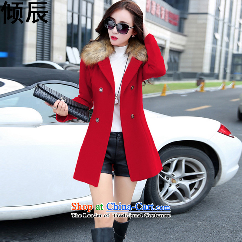 The Dumping e 2015 Fall_Winter Collections in the New Sau San long hair? coats collar nagymaros a jacket female 888 red? XL