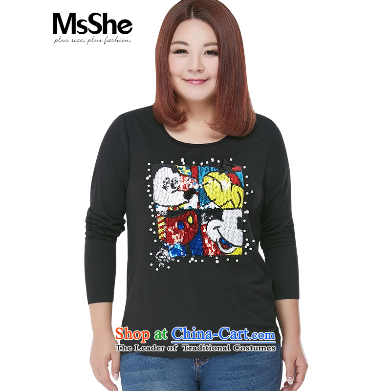 Msshe2015 new modal cartoon long-sleeved T-shirt200 catties to xl blouses 100293XL black