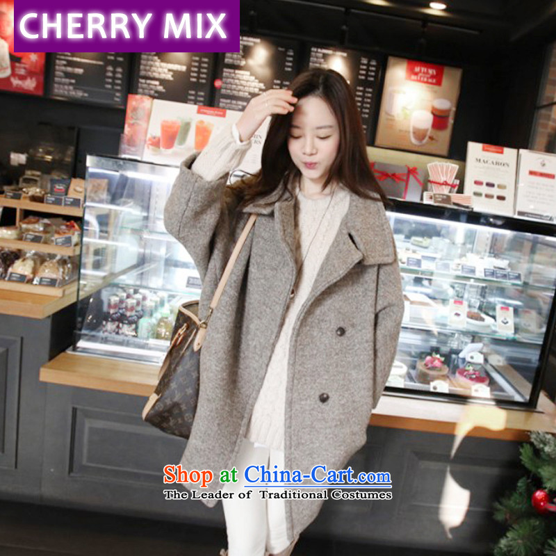 Cherrymix autumn and winter new Korean female cocoon-hair loose coat bat sleeves? in large long single row deduction of Neck Jacket Brown S