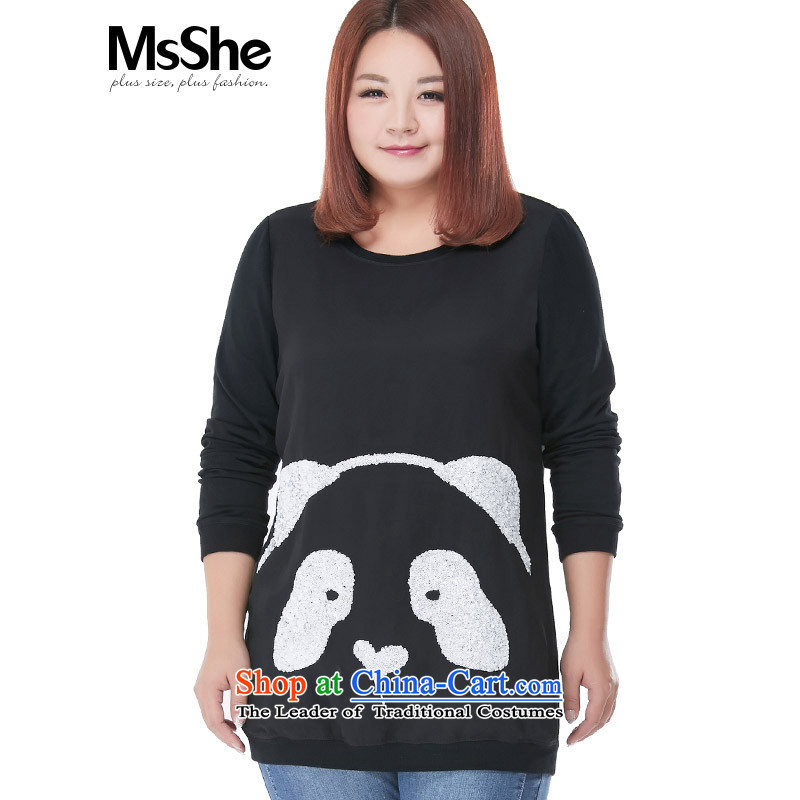 Msshe2015 New Pearl Neck Sweater200 catties t-shirt, long-mm thick piece10,021black 4XL
