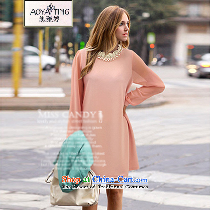 O Ya-ting2015 new autumn and winter dresses to increase women's code thick mm thin nail pearl video long-sleeved chiffon forming the skirt pink3XL ROOM D308recommends that you 145-165 catty