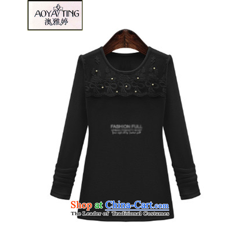 O Ya-ting2015 new autumn and winter clothes to wear the xl female thick mm thin nail pearl video round-neck collar lace Knitted Shirt female clothes D304 black2XL125-145 recommends that you Jin