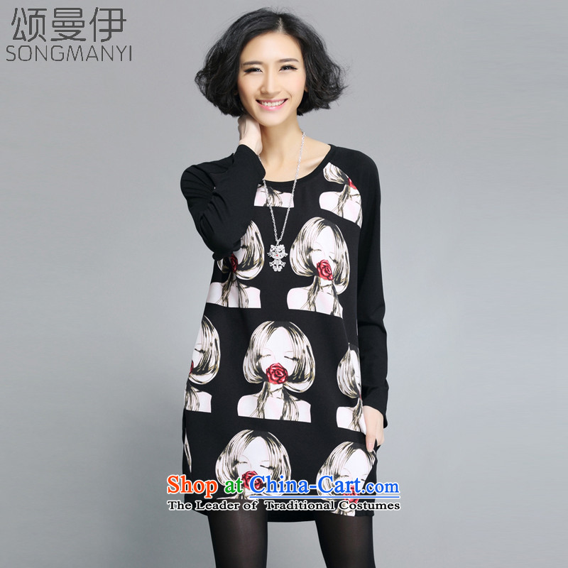 Chung Cayman,spring and autumn 2015 new fat mm new large long-sleeved T-shirts in long loose stamp dresses femaleblackXXXXL 608