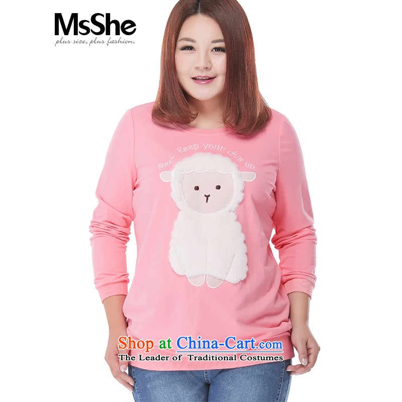 To increase the number msshe women 2015 new fall thick mm sheep sweater t-shirt pullovers 100265XL Pink