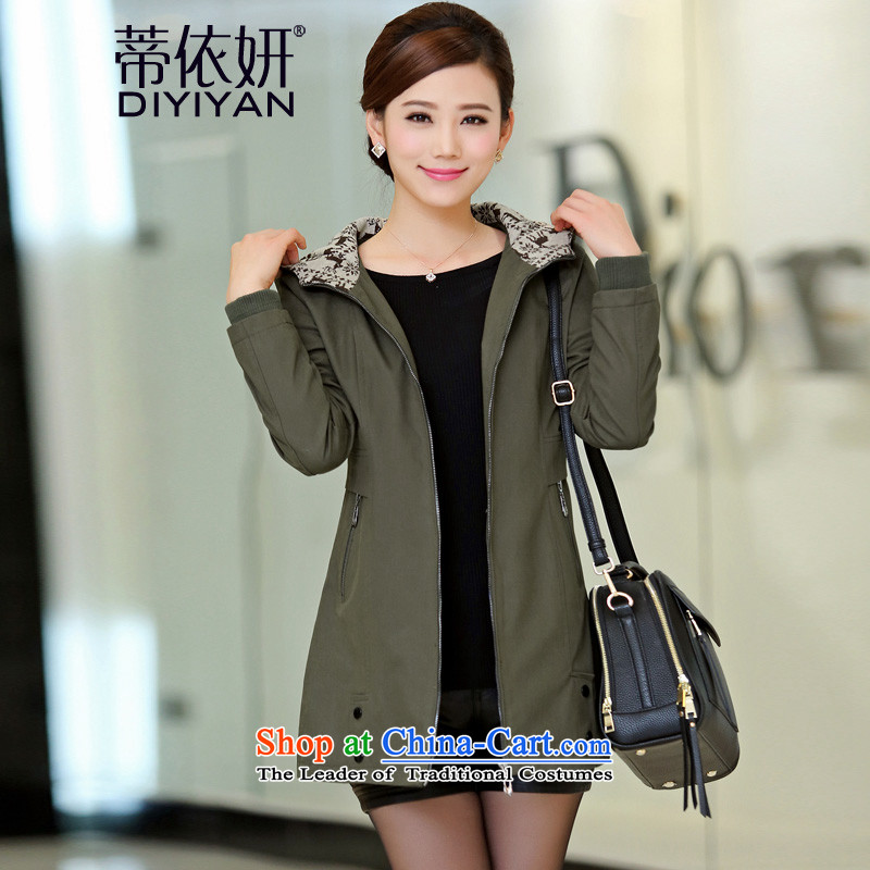 In accordance with Charlene Choi to Alfonso xl women fall inside windbreaker women 2015 new cap in Sau San long thick cotton jacket leisure mm female army green�L