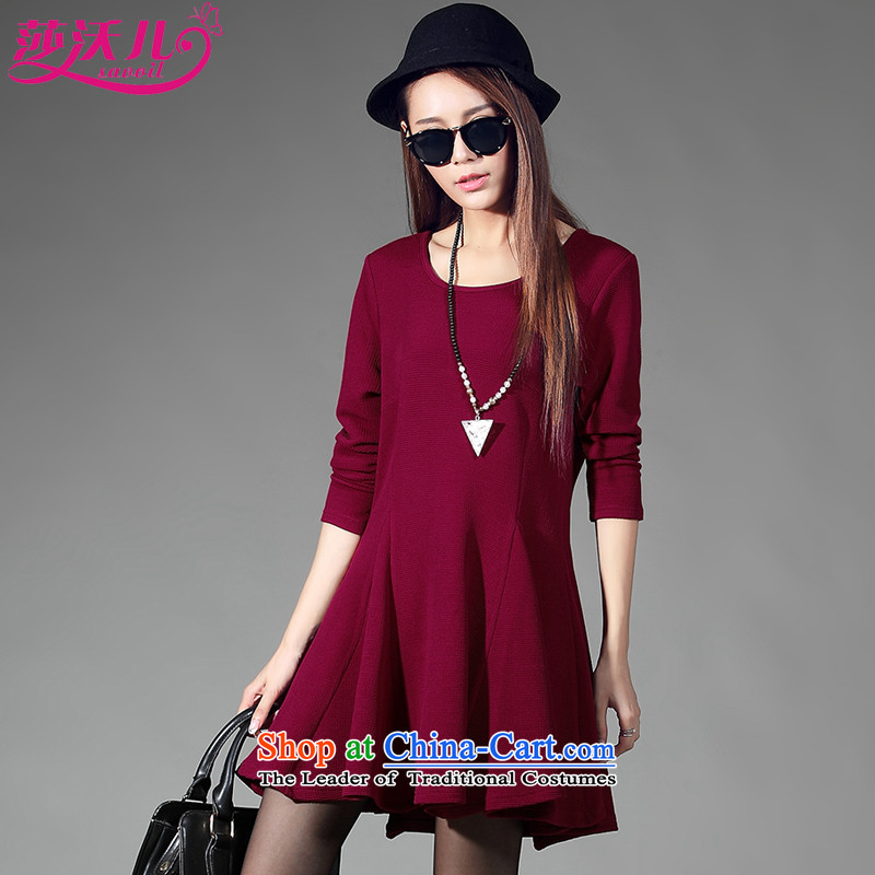 Elisabeth Kosovo children fall 2015 replace Korea savoil version trendy Code women's temperament Sau San long-sleeved dresses thick sister loose video D2057 thin wine red聽XXL
