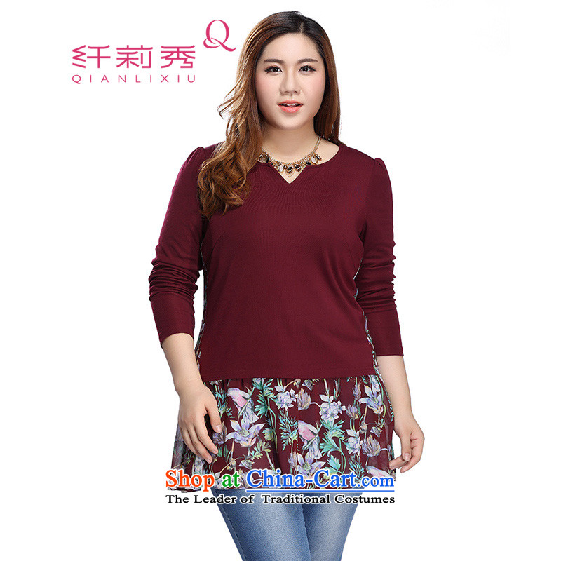 The former Yugoslavia Li Sau 2015 autumn large new mount female stretch knitted long-sleeved under the stitching Knitted Shirt shirt 0303 Sau San cinnabar Red 4XL