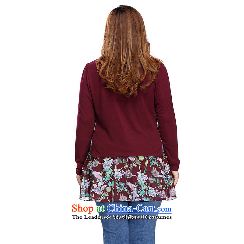 The former Yugoslavia Li Sau 2015 autumn large new mount female stretch knitted long-sleeved under the stitching Knitted Shirt shirt 0303 Sau San cinnabar red 4XL, Yugoslavia Li Sau-shopping on the Internet has been pressed.