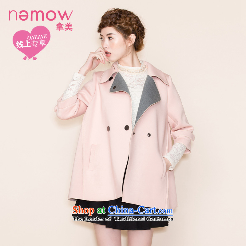 燭ake the United States 2015 nemow autumn and winter new lapel Korean knocked loose cuff color coats that jacket燛A5G394爉eat pink -07 S