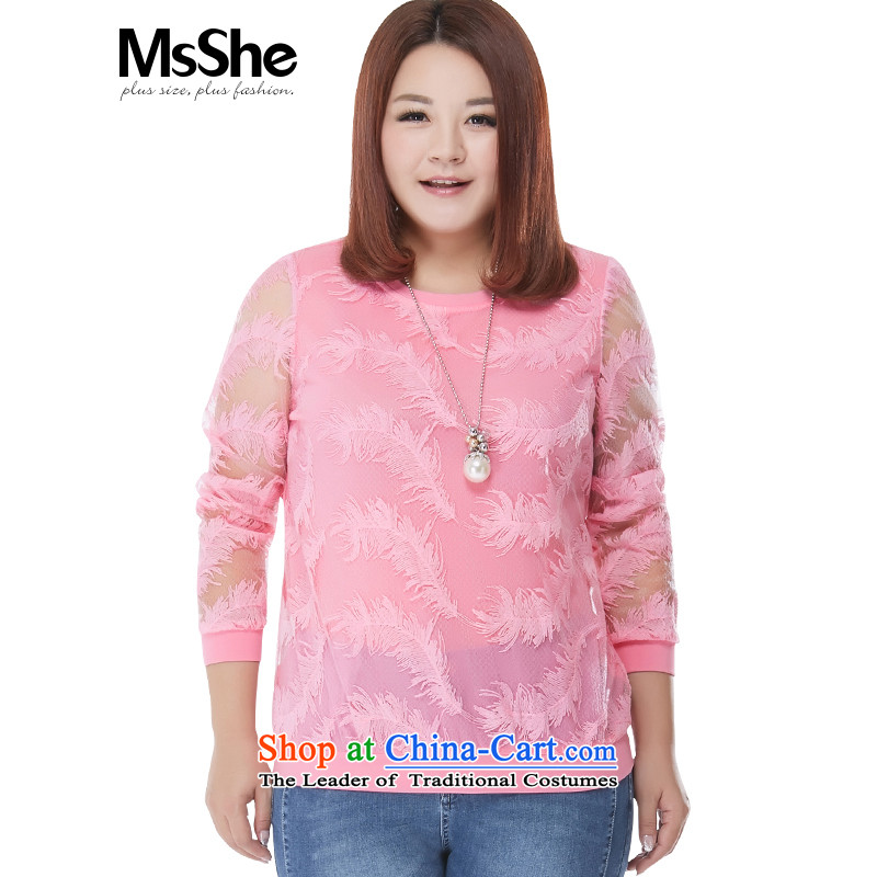The new maximum code msshe2015 women's long-sleeved T-shirt engraving thick sister wild video thin coat 10082 pink?2XL