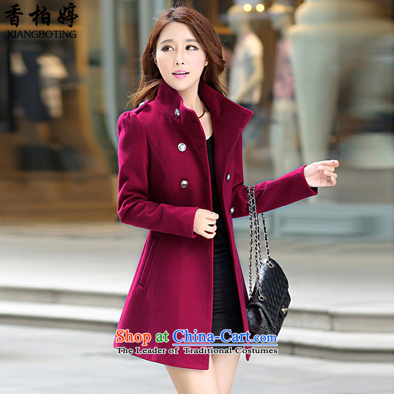 Cedar-ting 2015 autumn and winter female new product gross? graphics thin large jacket in long a wool coat XB827 female wine redL