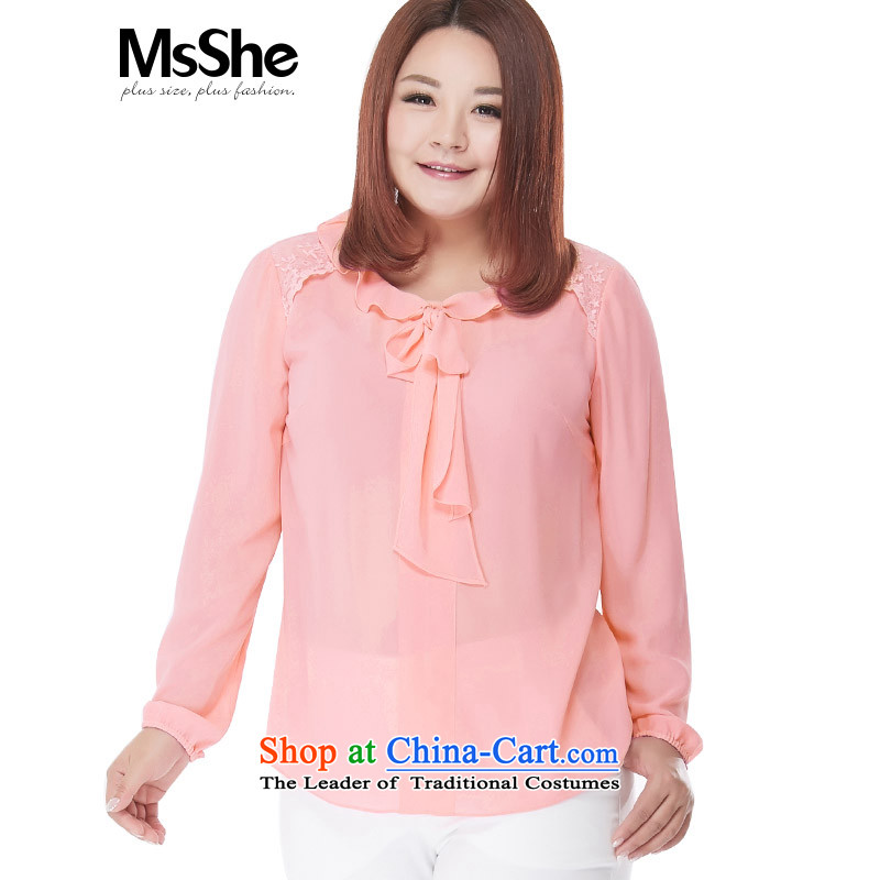 Thick Long-sleeved sister msshe chiffon shirt autumn200 catties video thin large   t-shirt with pink 101104XL