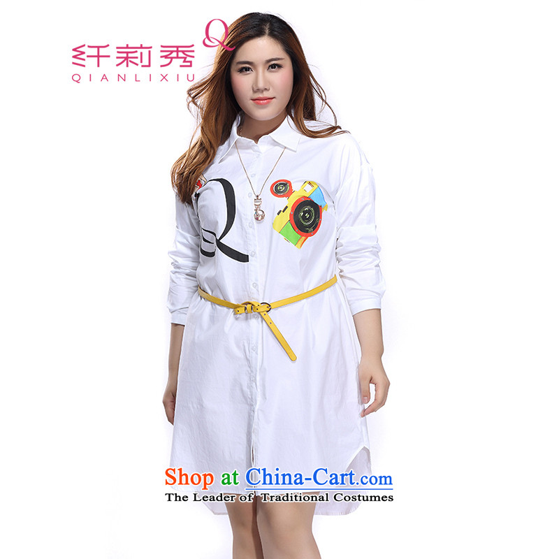 The former Yugoslavia Li Sau 2015 autumn large new boxed women able lapel sleek and stylish Sau San video clip COAT 0127 Single rank?3XL rice white