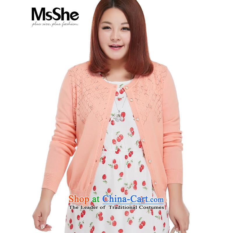 The fall of the new circle msshe2015 collar knitting cardigan jacket female200 MM thick xl female 4143rd watermelon3XL red