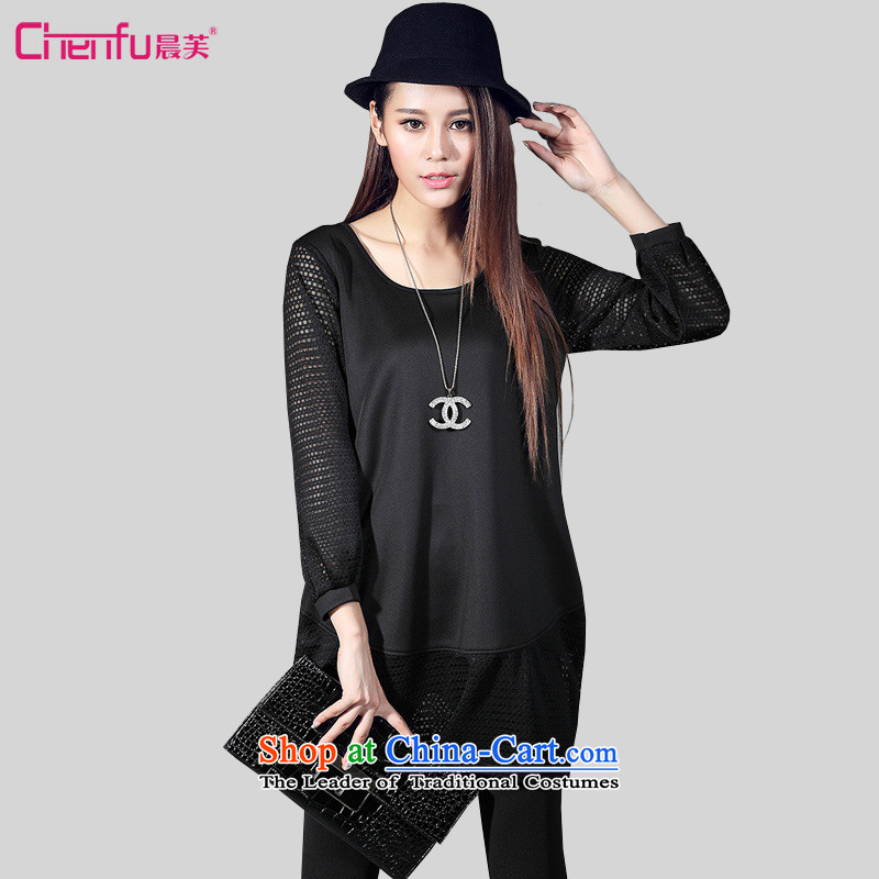 Morning to 2015 autumn and winter new larger female engraving stitching knitted dresses score of 9 mm thick cuff lights hanging over the skirt聽4XL_ black recommendations 150 - 160131 catties_