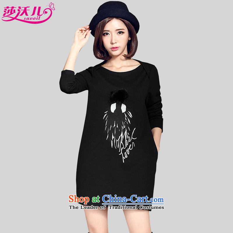Elisabeth Kosovo children fall and winter to increase women's code thick MM wild plus lint-free thick stamp sweater island lint-free warm suits skirts, forming the 2082 Black Large Code 2XL recommendations 130-145 catty