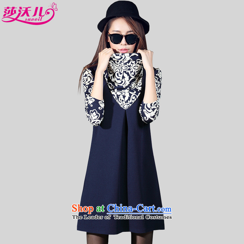 Elisabeth Kosovo-Large 2015 women fall new stamp of long-sleeved collar knitting thick MM stitching forming the Sau San long-sleeved dresses2067porcelain stamp blue2XL recommendations 120-130 catty