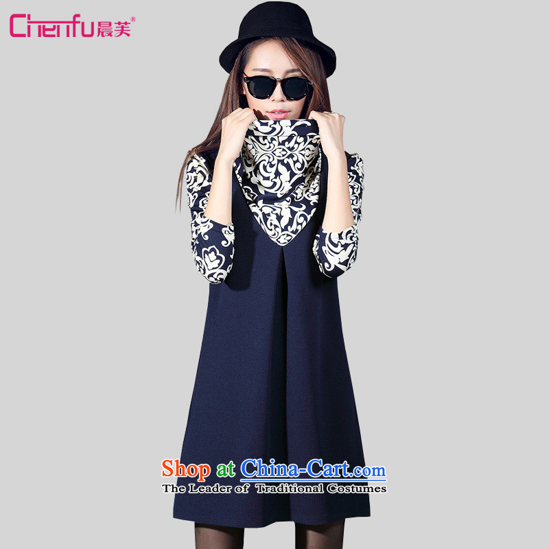 Morning to 2015 autumn and winter new MM thick piles for long-sleeved stamp graphics thin dresses larger female stamp stitching knitted dresses�L_ pattern recommendations 150 - 160131 catties_