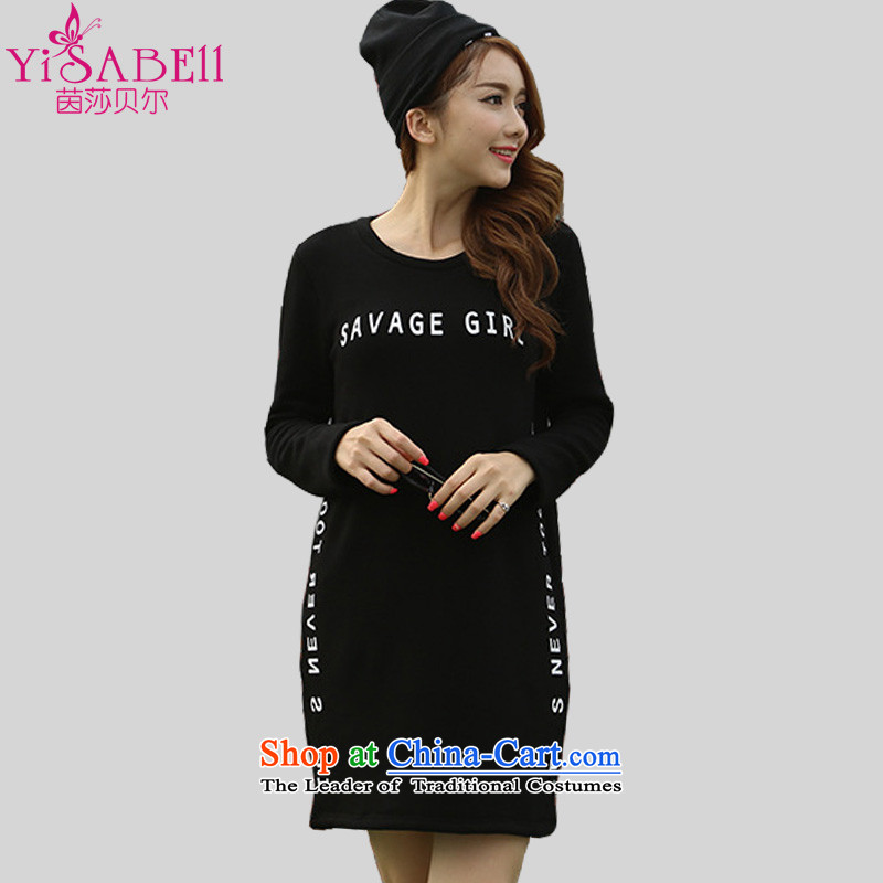 Athena Chu Isabel 2015 Fall_Winter Collections Korean Version to increase women's clothes members of the code and stylish letters stamp forming long thick wool sweater1350Black4XL recommendations 145-160 catty