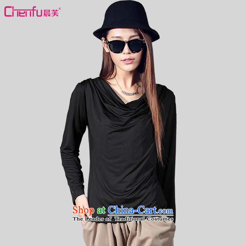 Morning to 2015 autumn and winter new Fat MM wild of milk silk, forming the basis for a T-shirt large decorated in video thin female heap heap for long-sleeved shirt black T-shirt, forming the?recommendations 150 - 160131 catty 4XL