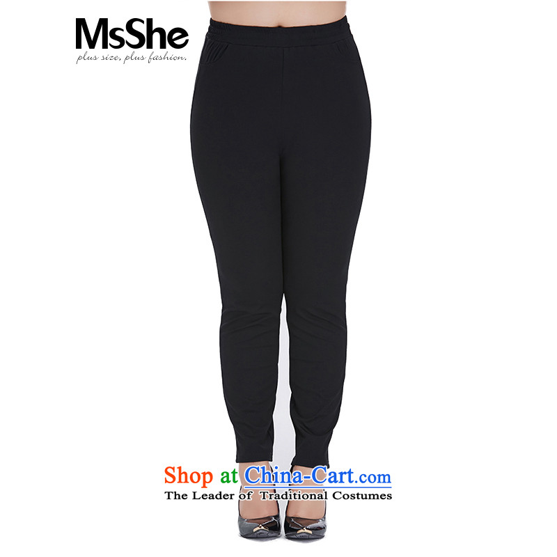 Msshe xl women forming the autumn 2015 New Pants female thick mm elastic waist trousers elastic band 8584 black?T4
