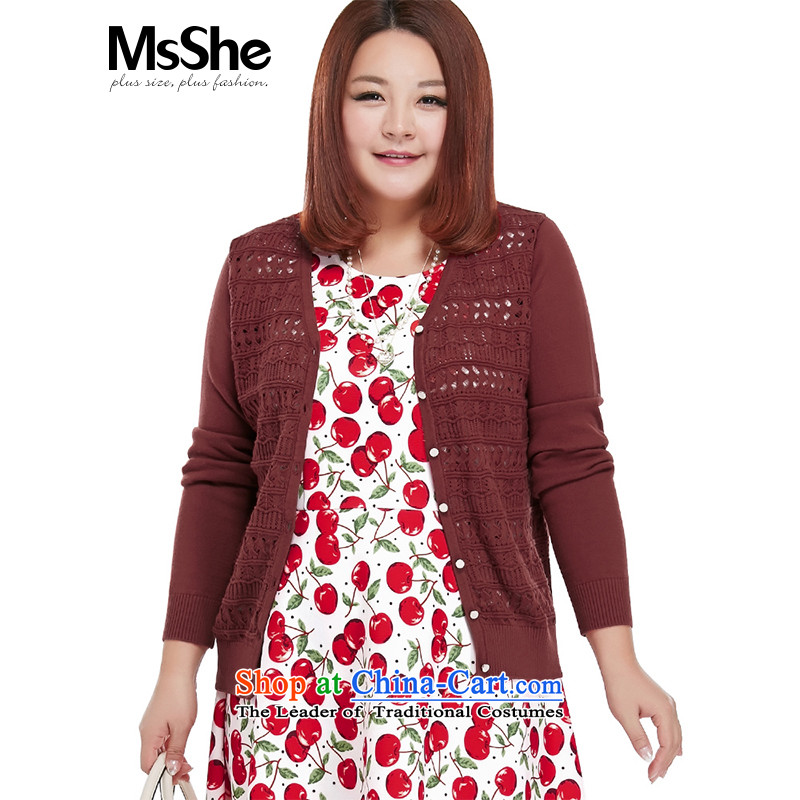 New Load autumn msshe2015 larger female pure color V-Neck knitting cardigan engraving small coat 4130�L wine red