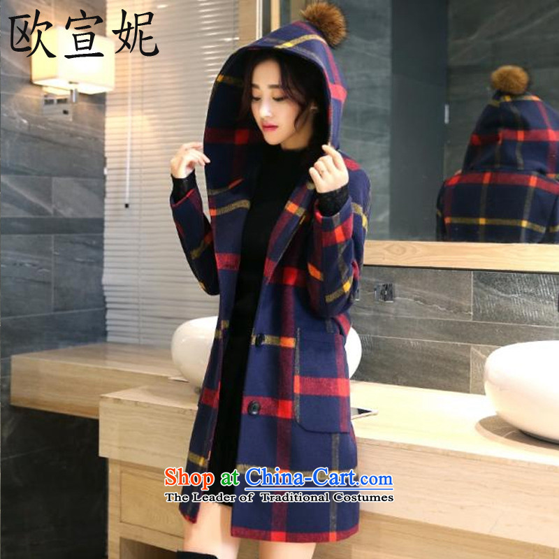 Jacqueline Europe 2015 winter long hair? jacket compartments Sau San Korean large stylish wool a wool coat female red XL