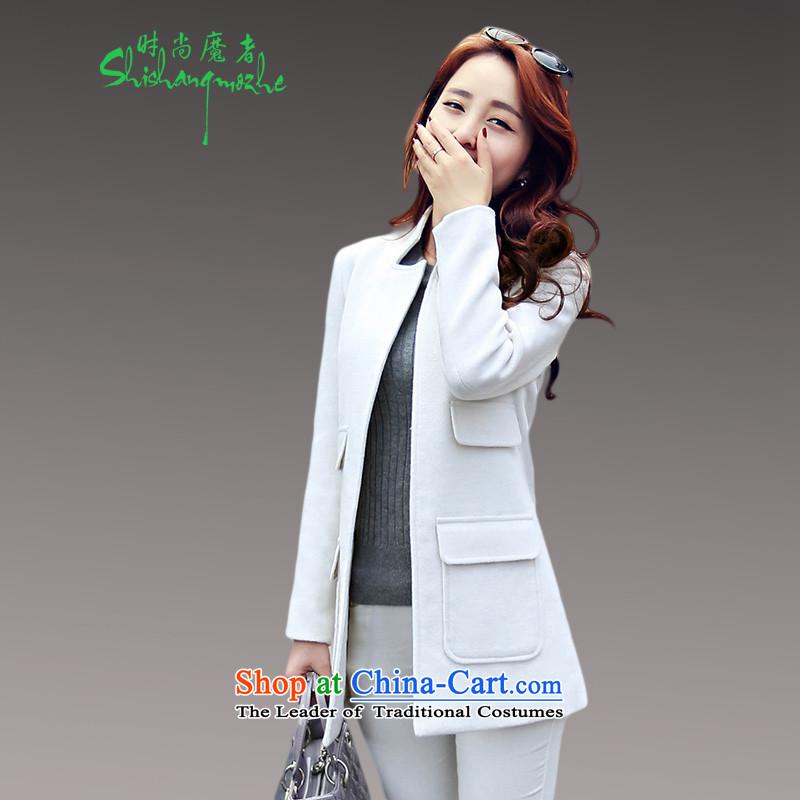 Devil of the 2015 autumn stylish new product code women minimalist version in Korea long Ms. Sau San a wool coat white overcoat8582WhiteL