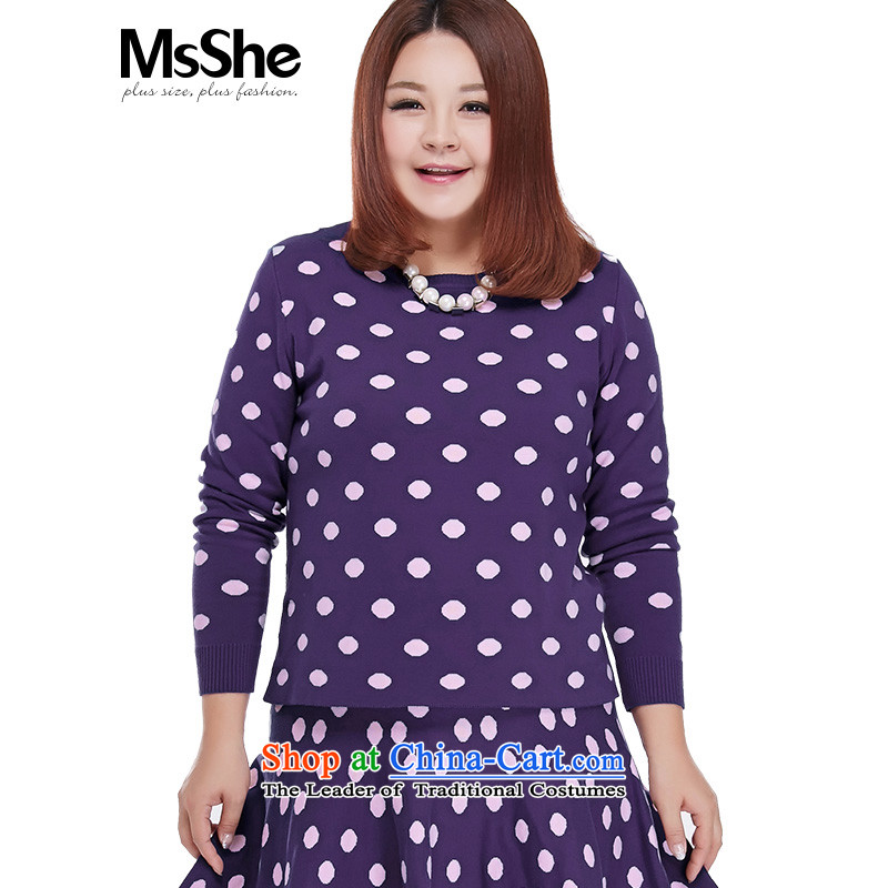 Msshe2015 new akinami point long-sleeved kit to xl sweater short skirt two kits 4159 deep purple 4XL