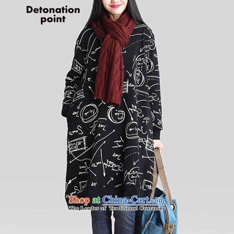 Dp autumn new product releases Korea lint-free thick xl women in loose long sweater cotton thick mm dress long-sleeved black/XL