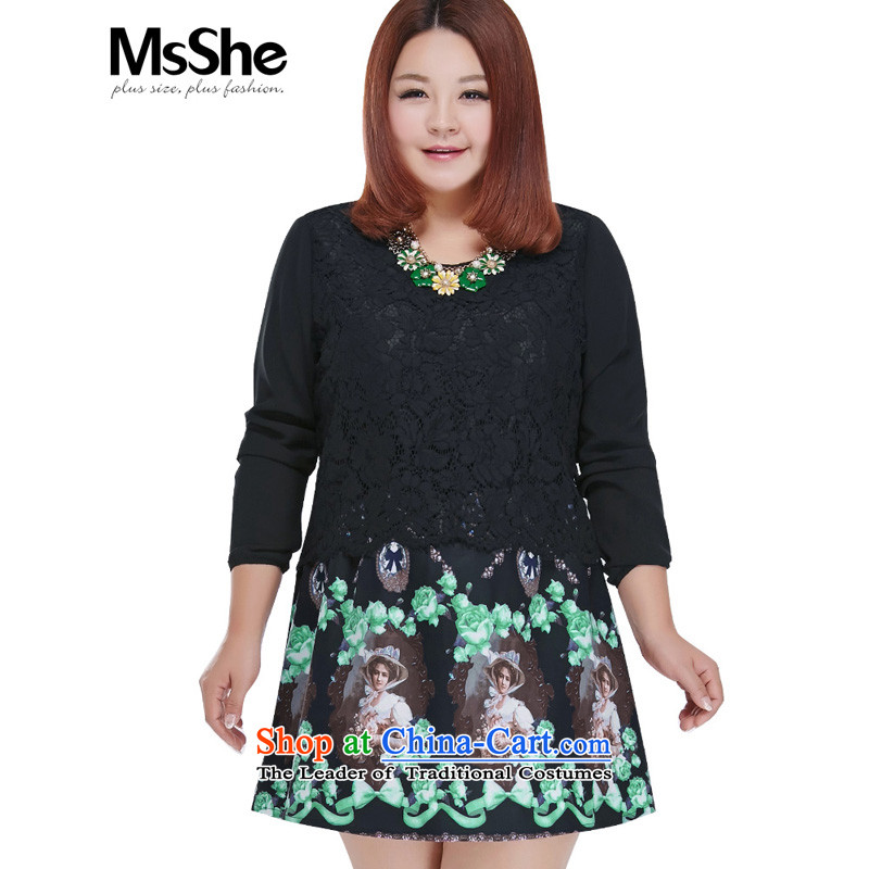 Msshe2015 new xl female stamp long-sleeved dresses autumn 200 catties thick mm retro stamp A swing dresses 101385XL black