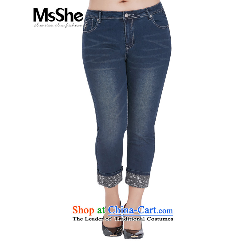 Large msshe women 2015 new autumn casual wild stretch of pure cotton denim pants in the waist 4182 Black blue燭3