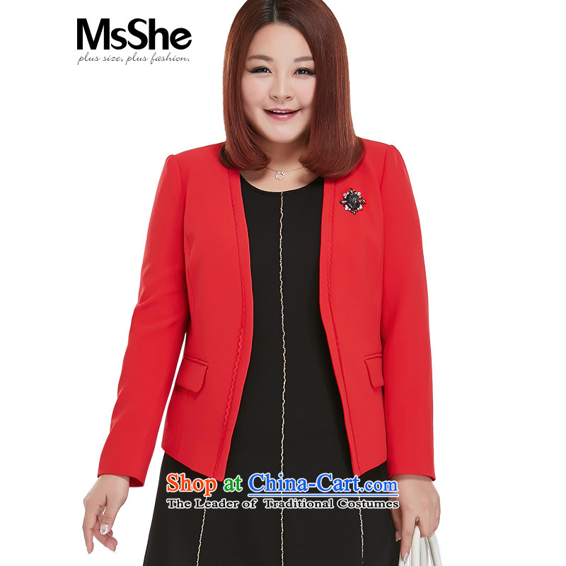 The fall of the new video msshe2015 thin OL wind jacket female�0 Suits Small Fat MM maximum code the burden of female 10128�L red