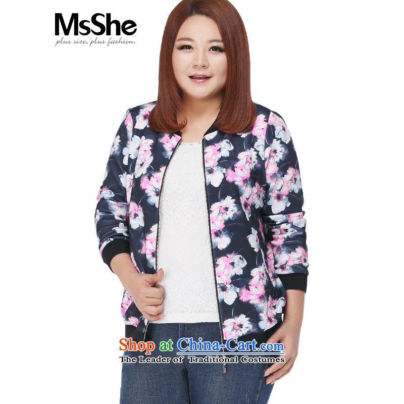 Stamp round-neck collar plus msshe indeed intensify baseball shirt female autumn2015 thick sister video thin large cardigan 10,001 blue toner3XL flower