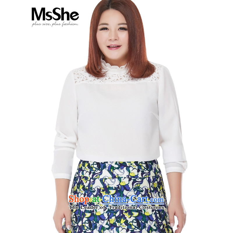 The new long-sleeved hundred MSSHE2015 ground for larger shirt female autumn?200 catties thick MM thin coat of Sau San Video White?5XL BUG 10243