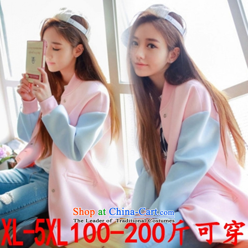 2015 Autumn and Winter load new Korean thick sister to increase the number of women's centers loose video thin jacket coat thick MM200 catty baseball uniform sweater XXXXXL Pink