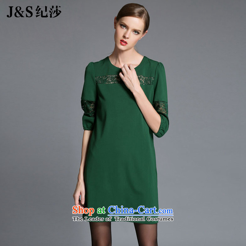 Elizabeth?2015 Western autumn discipline with the new SISTER to thick xl women's dresses thick mm loose video in thin cuff lace stitching engraving?ZR1841??3XL green