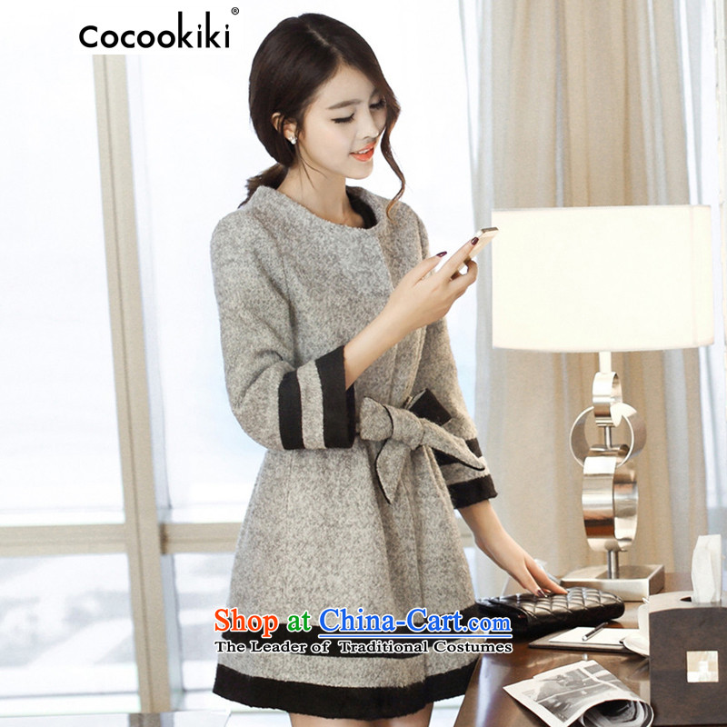 Install the latest autumn and winter COCOOKIKI2015_ larger gross Sau San? jacket female Korean version of gross women CC103 coat? Light Gray燤