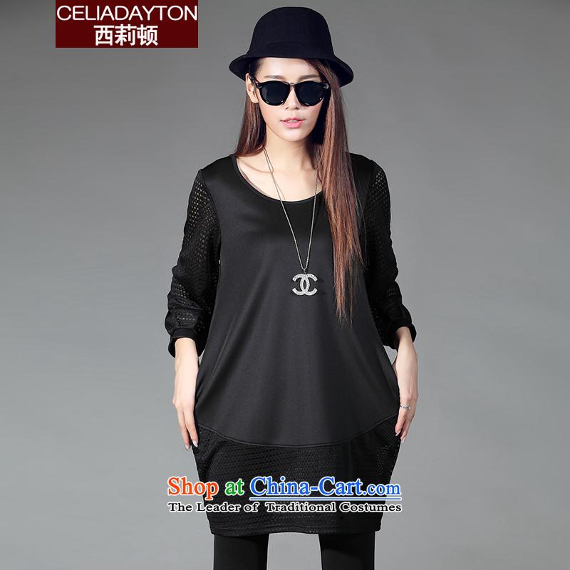 Szili Clinton to increase women's code 2015 Autumn new thick mm sister stylish look big lanterns dresses gauze stitching skirt wear long-sleeved even turning blackXXXXL